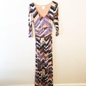 Anthropologie Maeve chevron maxi dress size small